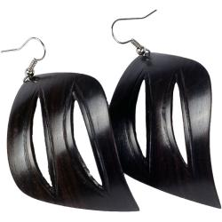 African Blackwood Leaf Dangle Hook Earrings (Mozambique)