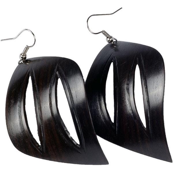 Handmade African Blackwood Leaf Dangle Hook Earrings (Mozambique)