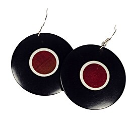 Handmade African Blackwood & Pink Ivory Wood Disk Earrings (Mozambique)