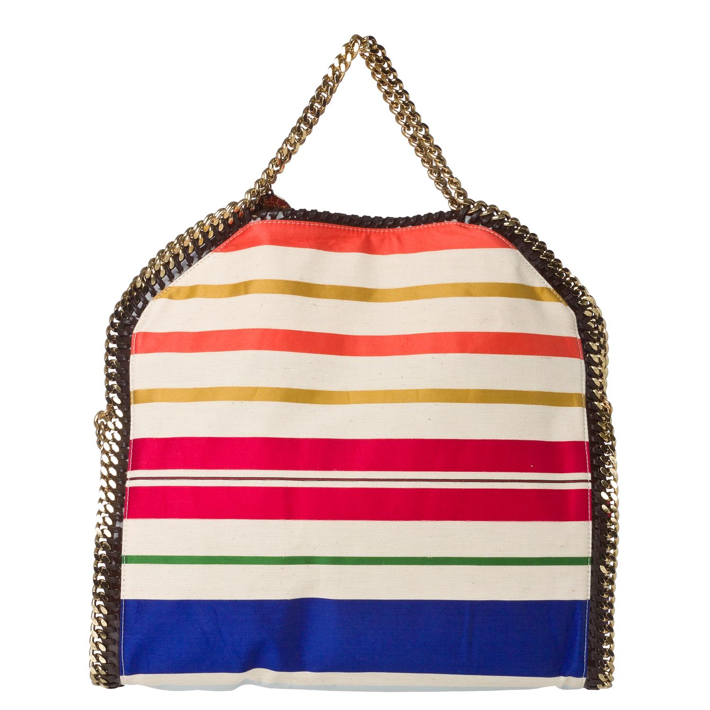 Stella McCartney 'Falabella' Striped Canvas Tote Bag