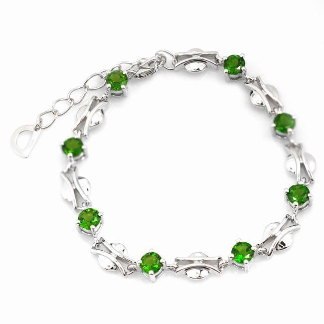 De An Sterling Silver Round Chrome Diopside Bracelet