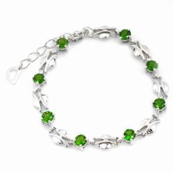 De Buman Sterling Silver Round Chrome Diopside Bracelet