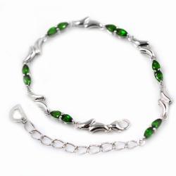 De Buman Sterling Silver Pear-cut Chrome Diopside Bracelet - Thumbnail 1