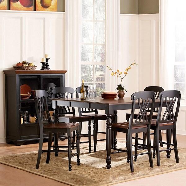 TRIBECCA HOME Mackenzie 7-piece Country Black Dining Table Set