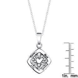 Sterling Silver 'Best Friends Just Know' Heart Necklace - Thumbnail 2