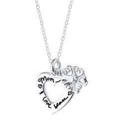 Sterling Silver 'Mom I Love You' 2-piece Heart and Flower Necklace - Thumbnail 1