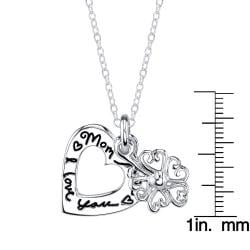 Sterling Silver 'Mom I Love You' 2-piece Heart and Flower Necklace - Thumbnail 2
