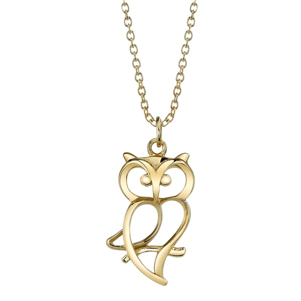 Gold over Sterling Silver Open Owl Necklace