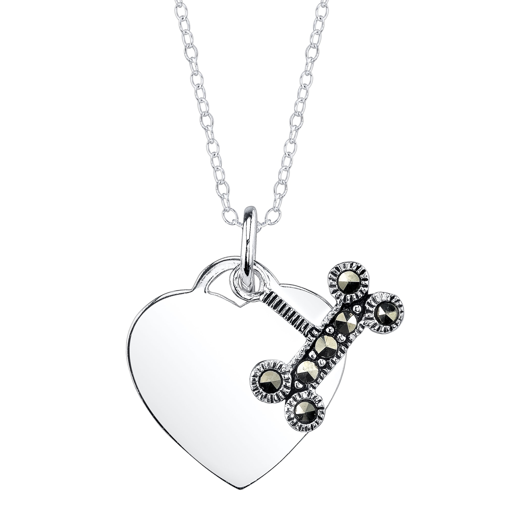 Sterling Silver Marcasite Dog Bone and Plain Heart Necklace