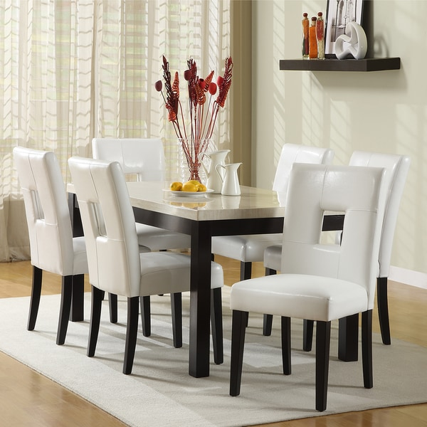 Casual Dining Room Sets: Shop TRIBECCA HOME Mendoza White 7 Piece Modern Casual