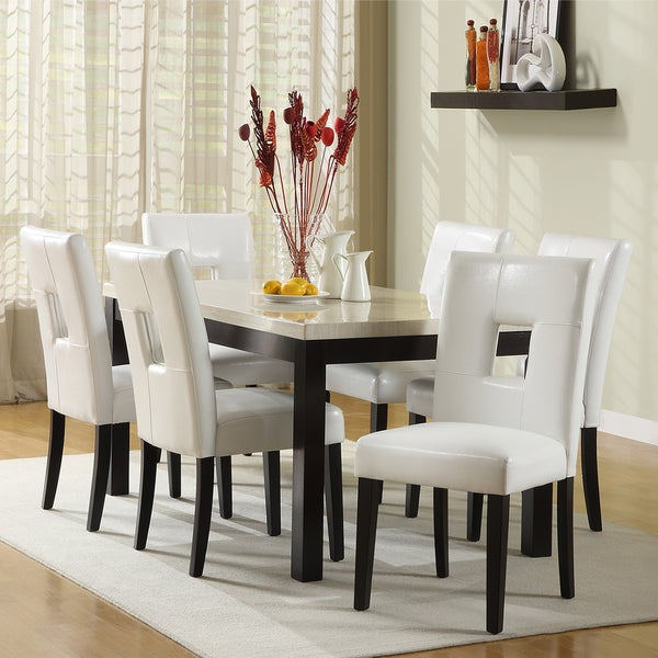 White Kitchen Dining Sets: Shop TRIBECCA HOME Mendoza White 7 Piece Modern Casual