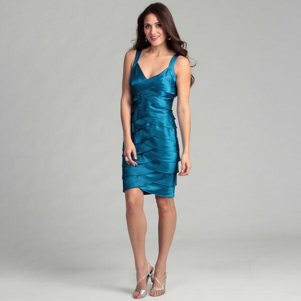 London Times Blue Stretch Satin Dress