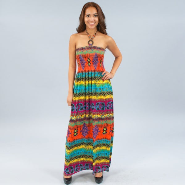 Meetu Magic Maxi in Brilliant Color with Beaded Halter Neckline