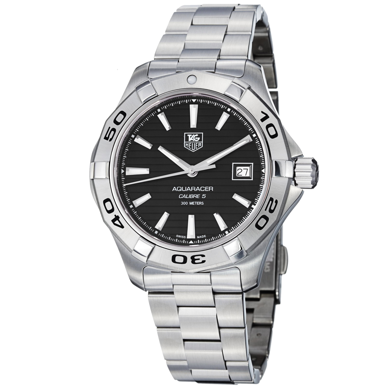 Tag Heuer Men's WAP2010.BA0830 'Aquaracer 5' Black Dial Stainless Steel Watch
