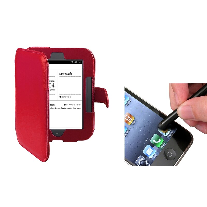 INSTEN Red Leather Phone Case Cover/ Stylus for Barnes & Noble Nook 2