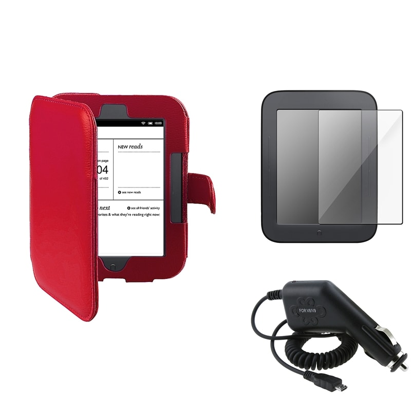 Leather Case/Screen Protector/Car Charger Bundle for Barnes & Noble Nook 2 - Thumbnail 0