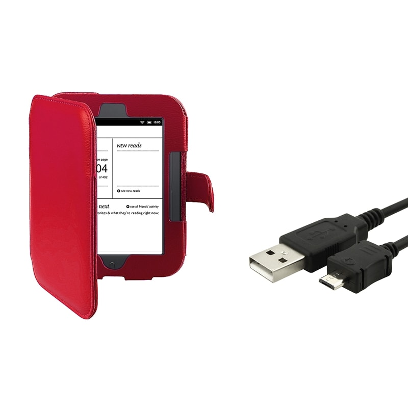INSTEN Leather Phone Case Cover/ USB Cable for Barnes & Noble Nook Simple Touch