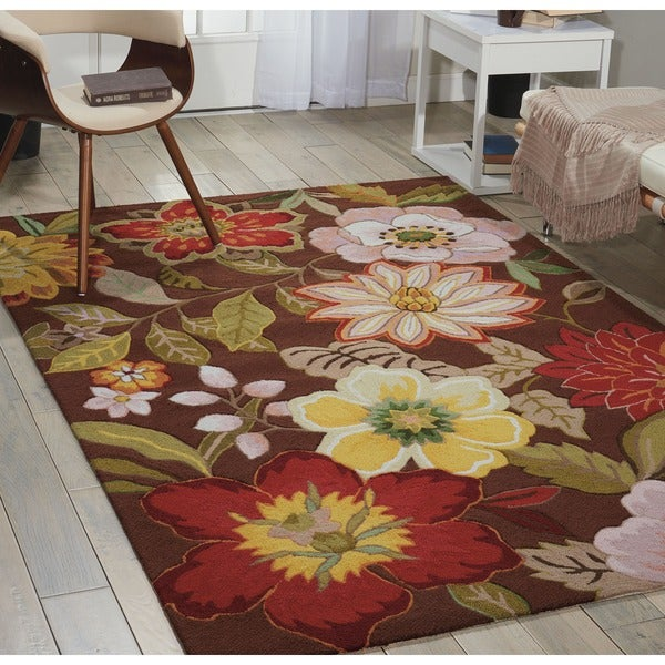 "Nourison Large Hand-Hooked Fantasy Brown Rug (8' x 10'6"") - 8' x 10'6"
