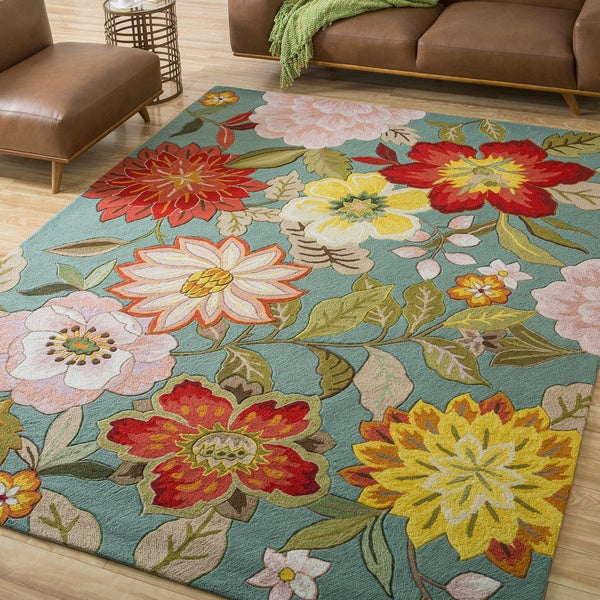 Nourison hand hooked fantasy blue floral area rug 8 39 x 10 for Bright floral area rugs