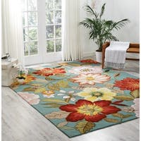 Nourison Hand-Hooked Fantasy Blue Floral Area Rug (8' x 10'6) - 8' x 10'6