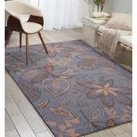 Nourison Hand-hooked Fantasy Blue Rug (8' x 10'6) - 8' x 10'6