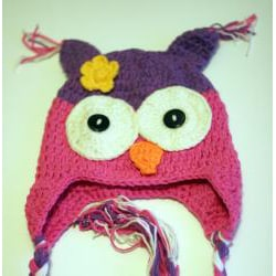 Handmade Girl's Pink and Purple Owl Hat - Thumbnail 1