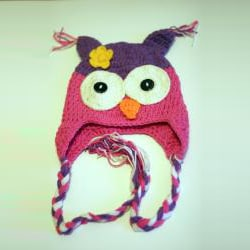 Handmade Girl's Pink and Purple Owl Hat - Thumbnail 2