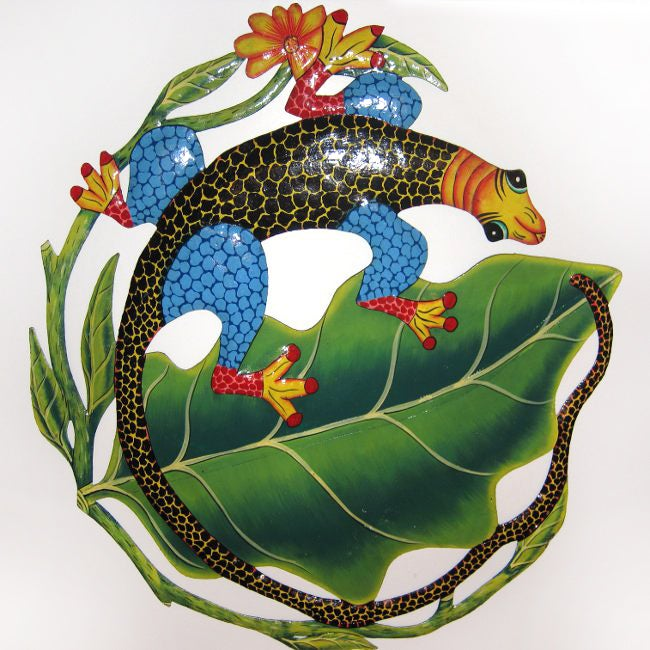 Recylced Steel Drum Colorful Iguana on a Leaf Wall Art (Haiti)