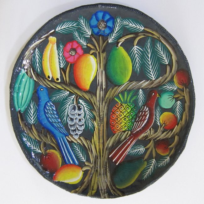 Haitian Tin Art  Recycled Steel Drum Painted Fruit Platter Wall Art  , Handmade in Haiti