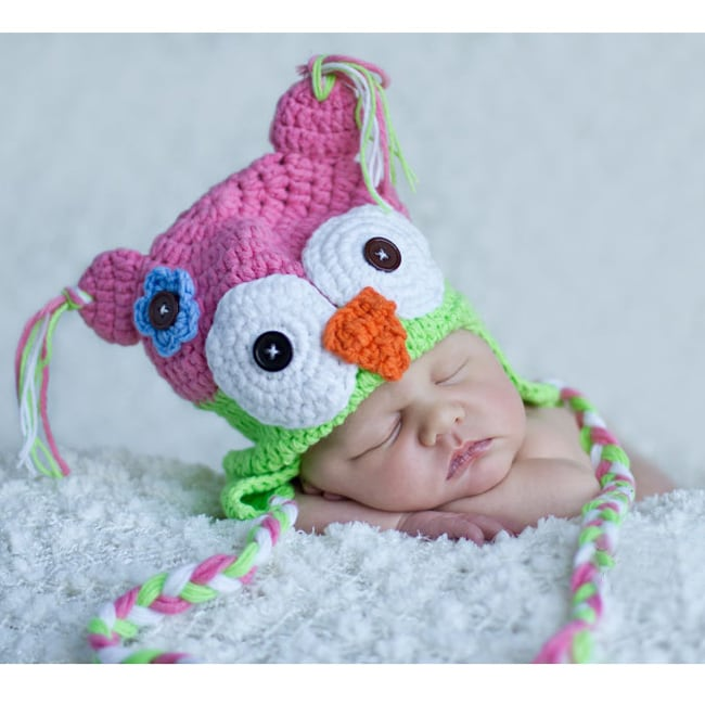 Handmade Girl's Pink Lime Owl Hat