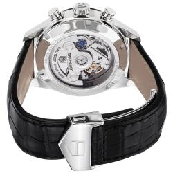 Tag Heuer Men's CAR2111.FC6266 'Carrera' Silver Dial Leather Strap Chronograph Watch - Thumbnail 1
