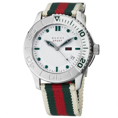 Gucci Men's 'Timeless' White Dial Green/ Red Nylon Strap Quartz Watch