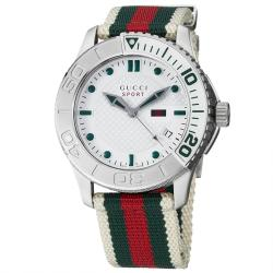 Gucci Men's 'Timeless' White Dial Green/ Red Nylon Strap Quartz Watch
