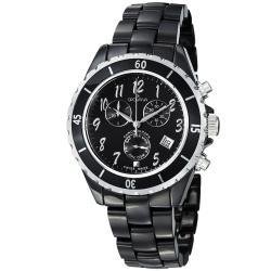 Grovana Women's 4001.9187 Black Dial Black Ceramic Chronograph Quartz Watch