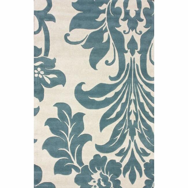 nuLOOM Handmade Floral Natural Wool Rug (5' x 8')