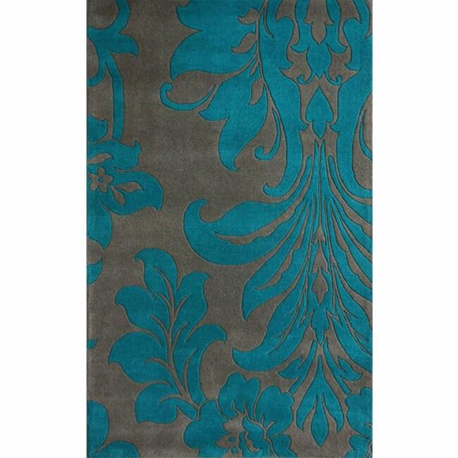 nuLOOM Handmade Floral Grey Wool Rug (5' x 8')