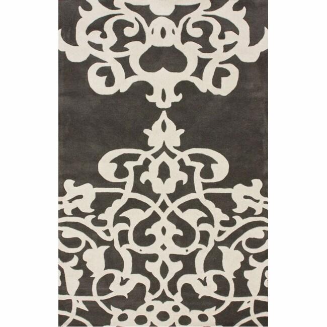 nuLOOM Handmade Crown Ivory Wool Rug (7'6 x 9'6)