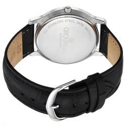 Grovana Men's 1030.1532 Silver Dial Black Leather Strap Grand Date Quartz Watch