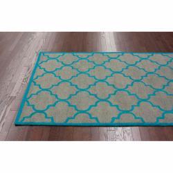nuLOOM Handmade Moroccan Trellis Grey Wool Rug (7'6 x 9'6) - Thumbnail 1
