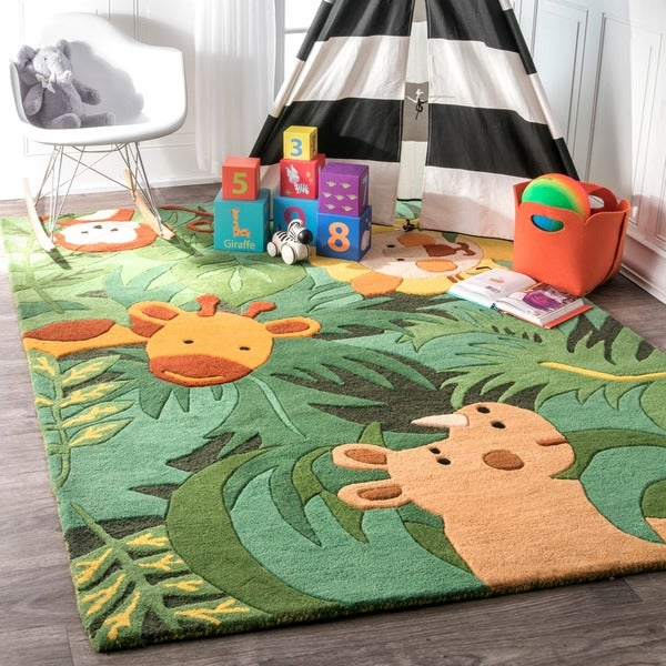 Nuloom Handmade Kids Safari Animals Green Wool Rug 5 X27 X 8