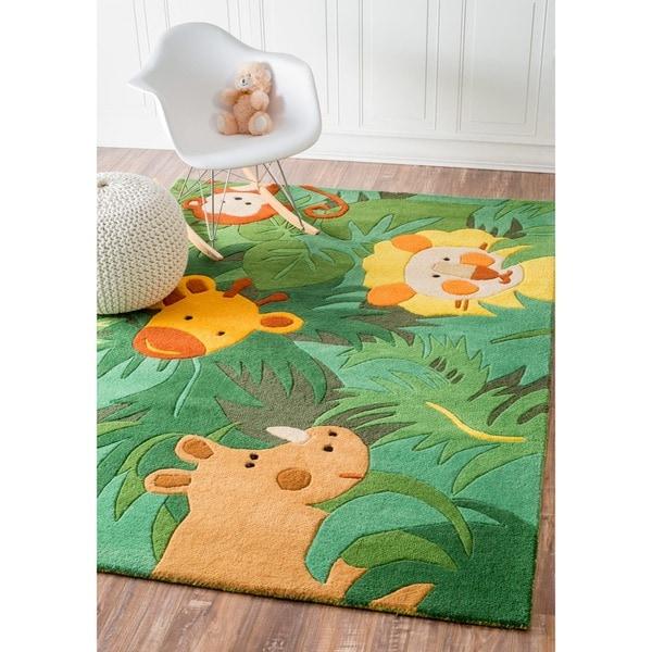 Nuloom Handmade Kids Safari Animals Green Wool Rug 5 X 8