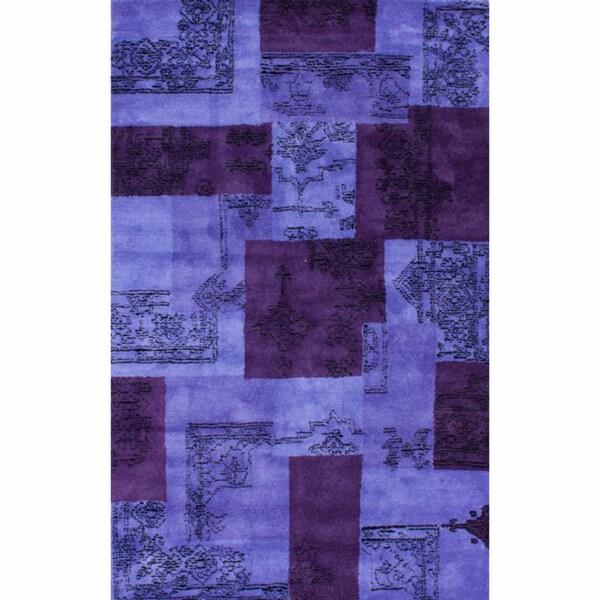 nuLOOM Handmade Dye Patchwork Purple Wool Rug (5' x 8')