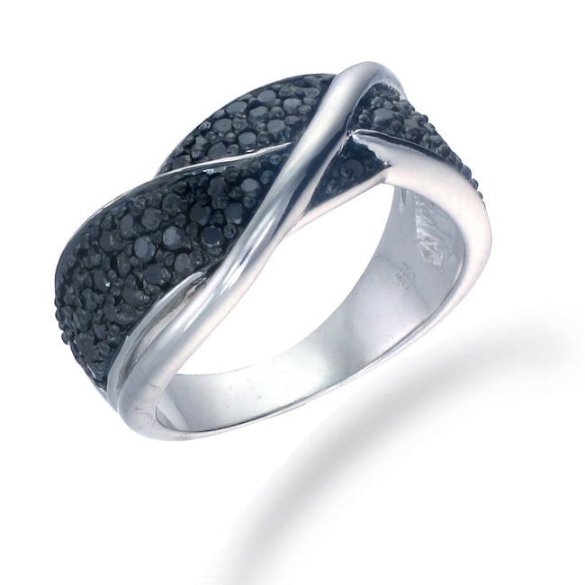 Sterling Silver 3/4ct TDW Black Diamond Twist Ring - Thumbnail 0