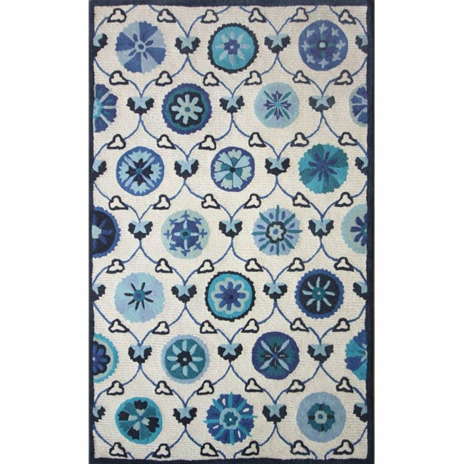 nuLOOM Handmade Spanish Mosaic Ivory Wool Rug (7'6 x 9'6)