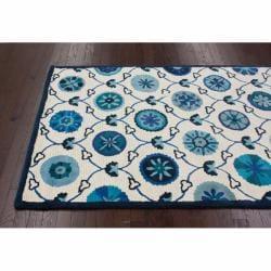 nuLOOM Handmade Spanish Mosaic Ivory Wool Rug (7'6 x 9'6) - Thumbnail 1