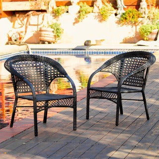 Maria Black Wicker Fan Back Outdoor Club Chairs (Set of 2) by Christopher Knight Home
