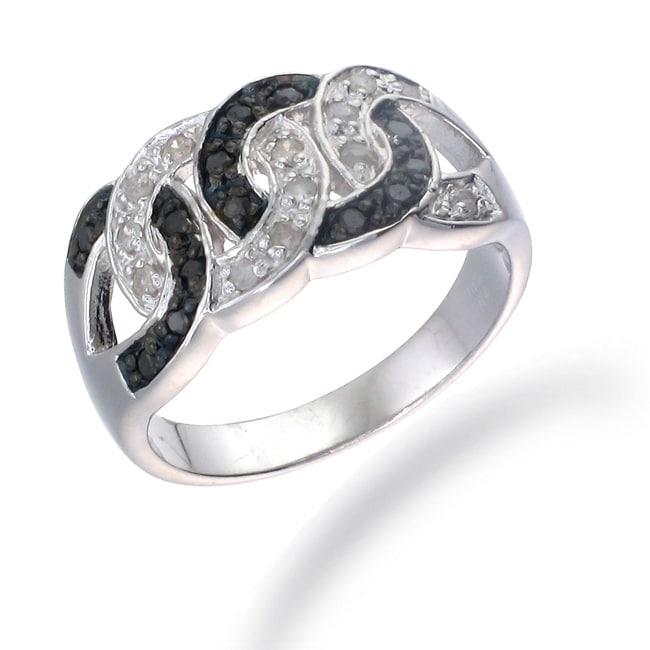 Sterling Silver 1/3ct TDW Black and White Diamond Circle Ring (I-J, I2-I3)