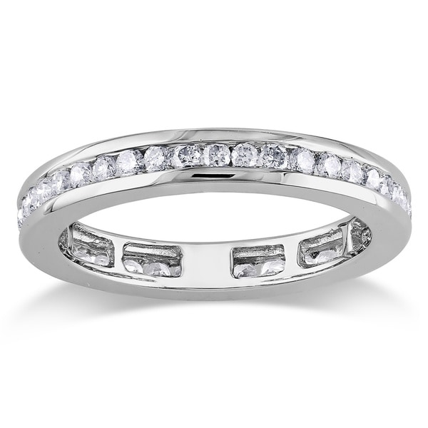 Miadora 14k White Gold 4/5ct TDW Diamond Eternity Ring
