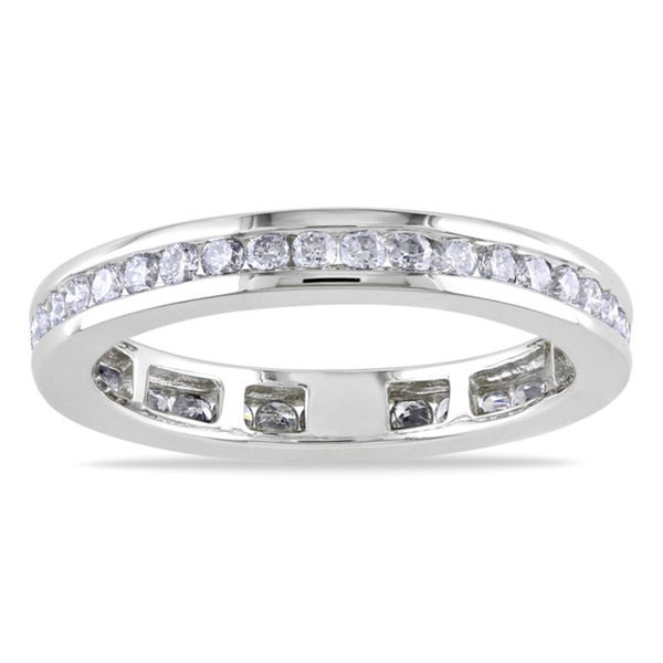 Miadora 14k White Gold 3/4ct TDW Diamond Eternity Ring