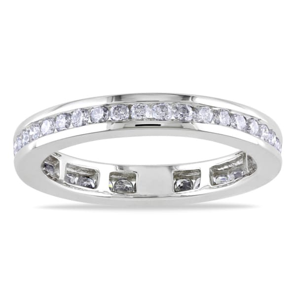 Miadora 14k White Gold 3/4ct TDW Diamond Eternity Ring (G-H, I1-I2)